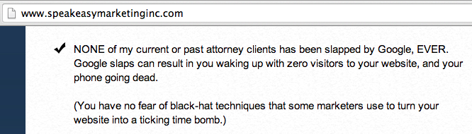 Speakeasy Lawyer Marketing SPAM