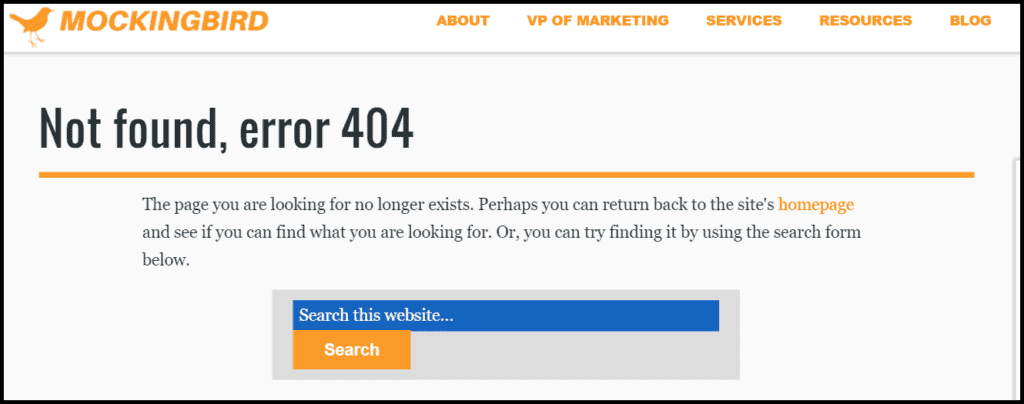 Example of a 404 page