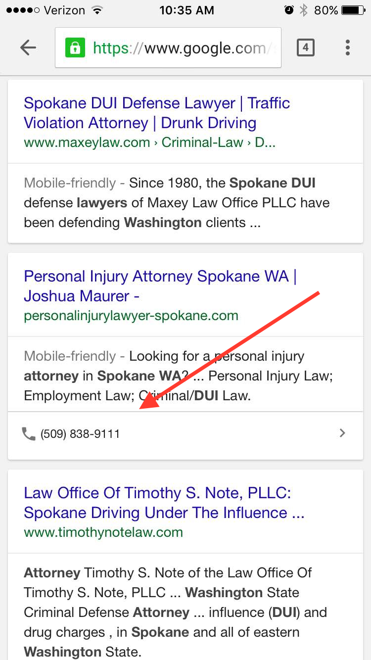 Mobile Organic Results Attorneys Spokane