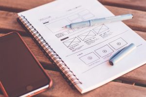 Website wireframe on notebook