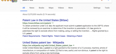 Google search of patent law