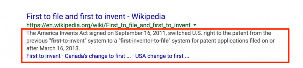 search snippet of first to file google search