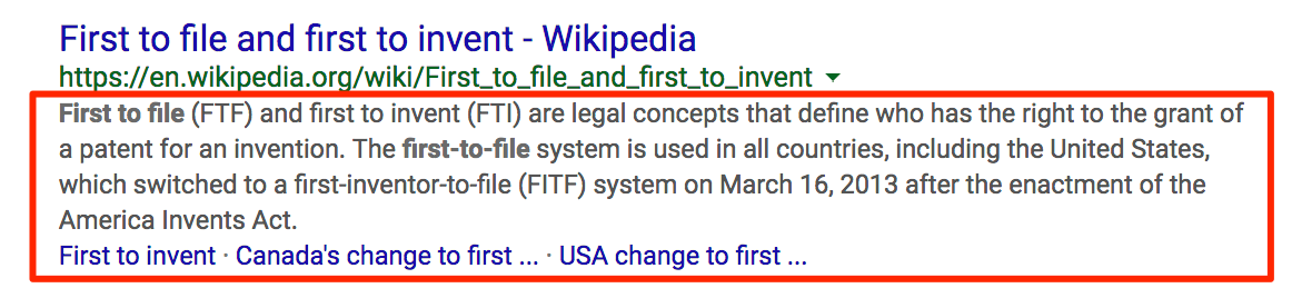 search snippet for first to file prior act