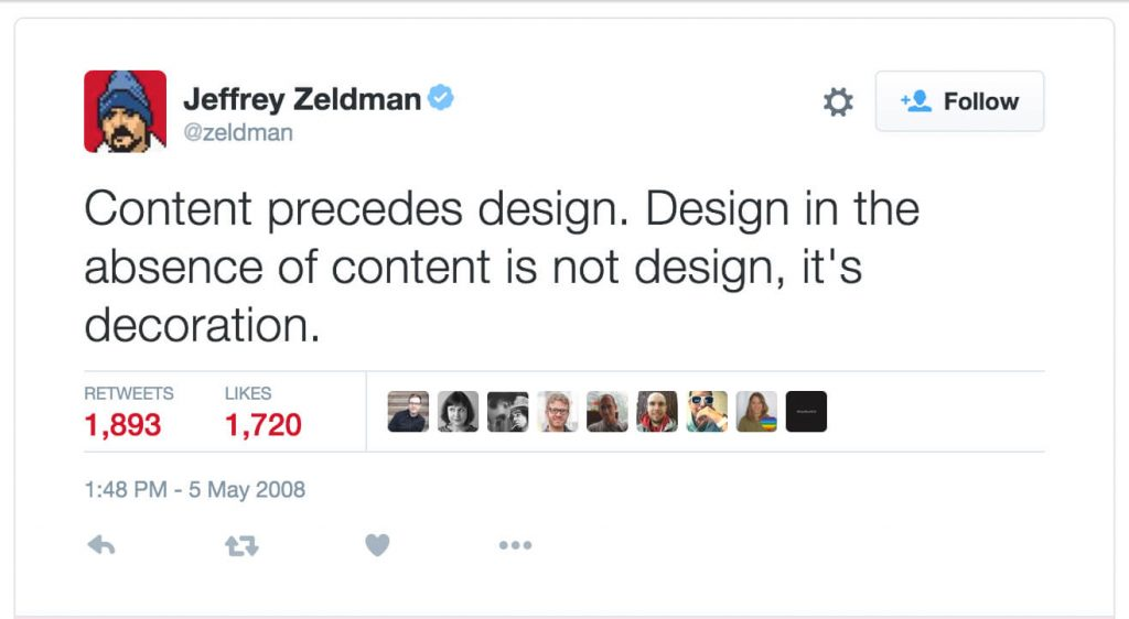 Jeffrey Zeldman Quote on Content in web design