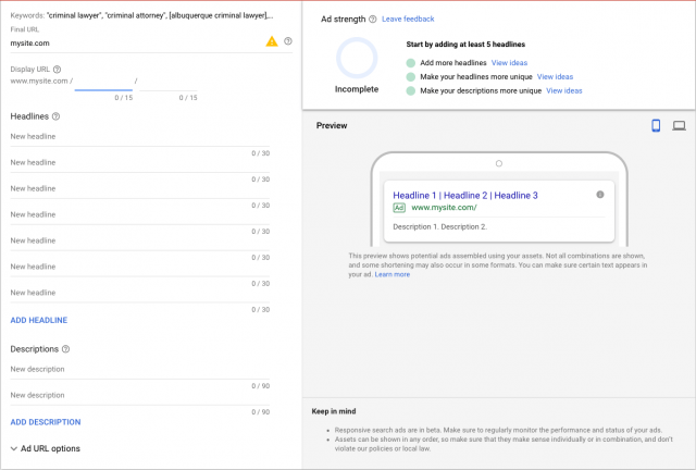 Google's responsive search ads interface