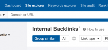ahrefs screencapture with the title of the Internal backlinks tool